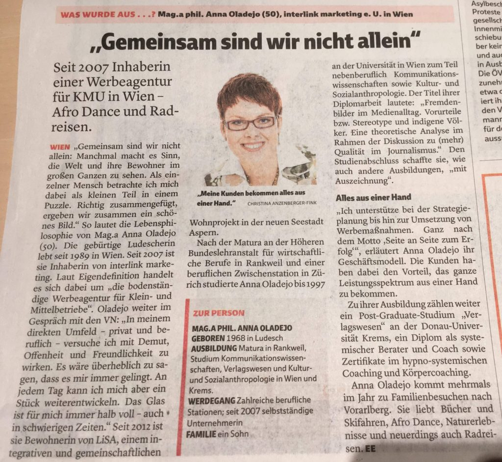 Pressebericht VN, Anna Oladejo, interlink marketing